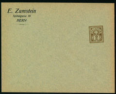 Sujet Wetziffer 2 Rp. Auf Ungelaufener Firmengazsache - E. ZUMSTEIN - SPITALGASSE 18 - BERN - Covers & Documents