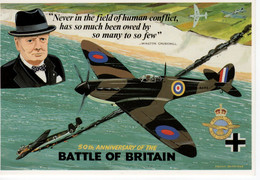 Spitfire  -  Winston Churchill  -  50th Anniversary Battle Of Britain  -  CPM - 1939-1945: 2a Guerra