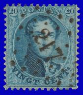 COB N°15 - Très Belle Oblitération à Pts. 217 (LIÉGE) - 1863-1864 Medallions (13/16)