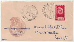France // Ex-colonies // Algérie // 1952 // Lettre Pour Paris XIX Congrès International De Géologie à Alger - Storia Postale