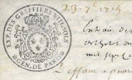 1715 / Généralité De Paris N° 284 / Parchemin / Exp Greffiers VIII Sols / Maison à Paris Rue Verneuil / Fg St Germain - Revenue Stamps