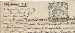 1716 / Généralité De Paris N° 298 / Petit Pap 1 Sol IV Den LAF. / Réduction Pension Viagère à Sa Mère - Revenue Stamps