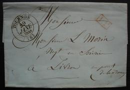 Tournon (Ardèche) 1844, Port Payé, Cachet T13, Pour Livron - 1801-1848: Precursores XIX