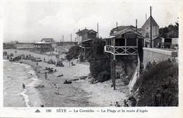 SETE (34)  La Corniche - La Plage Et La Route D'Agde - Publicités Aux Dames De France - Au Rendez Vous , Bouillabaisse.. - Sete (Cette)