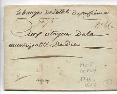LE PUY Haute Loire Marque Noire (faible) P41P LE PUY 1793 (25x7) Indice12  .....HH - 1792-1815 : Departamentos Conquistados