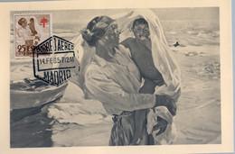 "1957 , TARJETA POSTAL "" EN LA PLAYA "" , ÓLEO DE SOROLLA , ED. 1105 - PRO TUBERCULOSOS - 1951-60 Lettres"