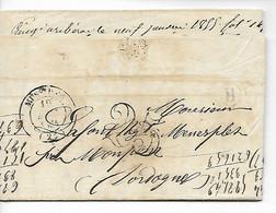 MUSSIDAN Dordogne CAD Type 14 + Taxe Tampon 25 + Boîte Rurale H VILLAMBLARD 1854  .....HH - 1849-1876: Periodo Clásico