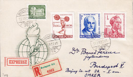 Hungary Ungarn EXPRESSZ & Registered Labels BUDAPES 1962 Cover Brief Weight Lifting Gewichtsheben, Ferenc & Egressy - Hungary