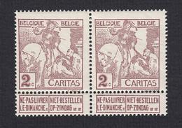 85+85-V ** (MNH) In Paar --- CARITAS --- V Op Rechtse Zegel, L Van BELGIQUE Is Dikker --- OBP € 125,00 - Errors (Catalogue COB)