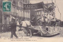 BAC19- BORDEAUX  EN GIRONDE  FETES DES VENDANGES  CHAR DE L'OSTREICULTURE  MARENNES   CPA  CIRCULEE RARE - Bordeaux
