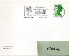 CHATEAU = 86 GENCAY 1986 = FLAMME Type II = SECAP  Illustrée 'CARREFOUR HISTORIQUE COMMERCIAL ' - Sellados Mecánicos (Publicitario)