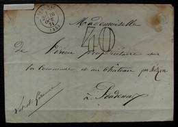 Durance 1871 Lot Et Garonne, Boîte Rurale D, Taxée 40 Cad T 17 De Lavardac, Au Verso Cachet De La Mairie Pour Poudenas - 1849-1876: Periodo Clásico