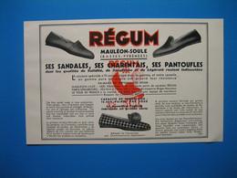 (1937) Sandales & Pantoufles : RÉGUM (Mauléon-Soule) -- M. Richard (Clermont-Ferrand) -- FLANDÉ Frères (Salies-de-Béarn) - Pubblicitari