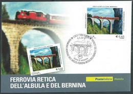 2010 ITALIA CARTOLINA POSTALE FDC FERROVIA RETICA ALBULA BERNINA - BF - Entero Postal