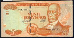 BOLIVIA  P244 20 BOLIVIANOS 2015 Serie J   VF    NO P.h. - Bolivia
