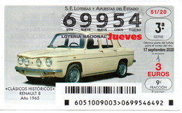 SPAIN LOTTERY TICKET VINTAGE AUTOMOVIL RENAULT 8 . CAR VOITURE COCHE - Loterijbiljetten