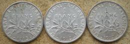 3 Monnaies Anciennes En Argent SEMEUSE Roty: 1 Franc 1915, 1 Franc 1916, 1 Franc 1917 - H. 1 Franc