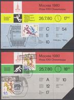 Olympics 1980 - Handball - RUSSIA - 2 Tickets - Sommer 1980: Moskau