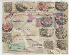 ITALIA EXPRES 30CX2+10C+1 LIRE X8 LETTERA REC ESPRESSO LIVORNO RACCOMANDATE ASSICURATA 1922 TO FRANCE - Storia Postale