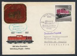 DDR Germany 1987 Brief Cover - 100 Jahre Eisenbahn Schönberg (Vogtl) - Schleiz (1887-1987) - Bahnpost / Railway - Trains