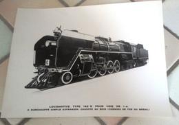 Grande Photo 26 X 20 Cm Locomotive Type 142 D Pour Voie De 1 M Surchauffe Simple Expansion Chauffe Au Bois (Brésil) - Treni