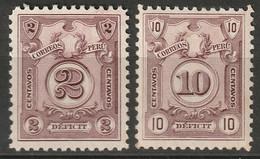Peru 1930 Sc J50A-B  Postage Due Set MH - Peru