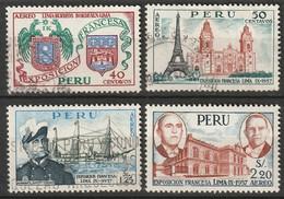 Peru 1957 Sc C127-30  Air Post Complete Set Used/MH - Pérou
