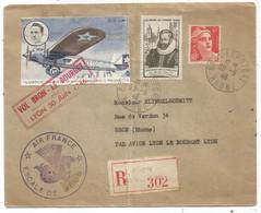GANDON 6FR ORANGE+3FR SURTAXE LETTRE REC BRON AEROPORT 29.6.1946 + VIGNETTE AMERICA + GRIFFE VOL BRON LE BOURGET - Luchtpost