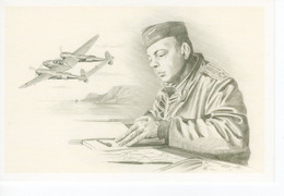 Antoine De Saint-Exupéry  A La Base De Borgo En Corse  -  1944 -  Artiste: Benjamin Freudenthal  -  CPM - Airmen, Fliers