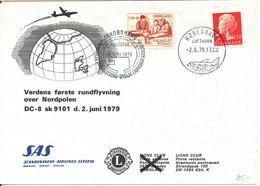 Denmark Greenland First SAS Round Flight Over The Northpole DC-8 SK 9101 2-6-1979 - Brieven En Documenten