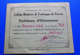 1951 --TARARE (Rhône) -  Collège Moderne Et Technique De Tarare  Université De France -☛TABLEAU D'HONNEUR  -☛ - Diplomi E Pagelle
