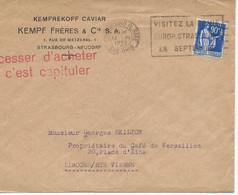 """LETTRE 1939 AVEC TIMBRE A 90 CT AU TYPE PAIX ET SLOGAN  """"CESSER D'ACHETER C'EST CAPITULER"""" - 1921-1960: Période Moderne"""