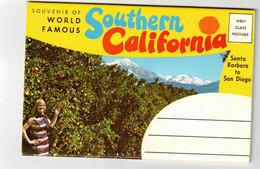 SOUTHERN CALIFORNIA, USA, Santa Barbara To San Diego, Old Souvenir  Fold-Out Postcard - Santa Barbara