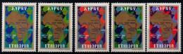 Ethiopia 1977, Scott 827-831, MNH, Trans-east Highway, Map - Ethiopie