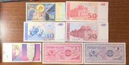Macedonia 10-20-25-50 Dinari 7 Banconote Con 50 AA UNC FDS  LOTTO 3360 - Macedonia