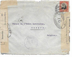 SH 0659. Lettre De PUNTA ARENAS (CHILI) Affr. 20c - 9 NOV 16 Vers Banque à ANVERS. CENSURES DIVERSES - Duits Leger