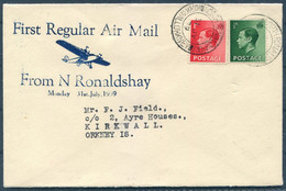 1939 GB First Regular Air Mail Flight Cover North Ronaldshay / Kirkwall Orkneys - Covers & Documents