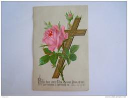 Image Pieuse Holy Card Prenez Douc Votre Croix Et Suivez Jésus ... Rose Croix Roos Kruisbeeld - Imágenes Religiosas