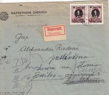 Croatia WWII Hrvatska NDH 1941 Cover Returned With Label NEPOZNAT / INCONNU (unknown) - Croatia