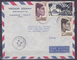 Polynesie Lettre #240 - 1955 Papeete En L'Etats Unis - Covers & Documents