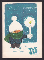 East Germany DDR: Illustrated Telegram Form, 1968, Unused, Snow, Candle, Mouse, Mice, Telegramm (minor Creases) - Unclassified