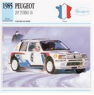 Peugeot 205 Turbo 16 Rallye   -  1985 - Pilote: Timo Salonen  -  Fiche Technique Automobile (Francaise) - Rallyes