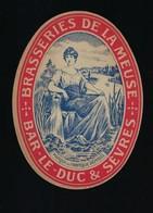 """Ancienne étiquette Bière Brasserie De La Meuse  Bar Le Duc & Sèvres """" Femme, Fontaine - Beer"""