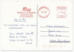 FRANCE - CPM EMA - Le Relais De La Diligence / Restaurant NN - 21 MEURSAULT - 3/7/1987 - Affrancature Meccaniche Rosse (EMA)