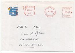 FRANCE - Enveloppe En Tête EMA - La Cinq (Chaine De TV Disparue) - 75 Paris 86 - 18/5/1988 - Affrancature Meccaniche Rosse (EMA)