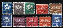 Helvetia 1955/59 Yv 362, 363/68, 405/07, Mi 21, 22/27, 28/30 Used - Dienstpost