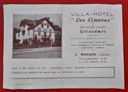 Publicite Double Face 88 GERARDMER Villa Hotel LES LISERONS L. MOUGIN S. WEILL Toiles Et Trousseaux - Gerardmer