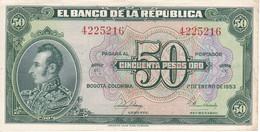 BILLETE DE COLOMBIA DE 50 PESOS DE ORO DEL AÑO 1953 EN CALIDAD EBC (XF) (BANK NOTE) - Colombia