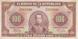 BILLETE DE COLOMBIA DE 100 PESOS DE ORO DEL AÑO 1953 EN CALIDAD MBC (VF) (BANK NOTE) - Colombia