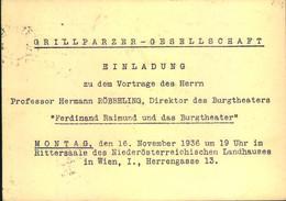 """1936, Einladung Der """"GRILLPARZER-GESELLSCHAFT"""" - Schriftsteller"""